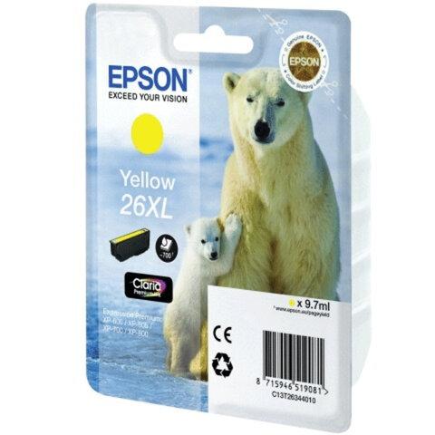 Картридж струйный EPSON (C13T26344010) Expression Premium XP-600/605/700/800, желтый, ориг.