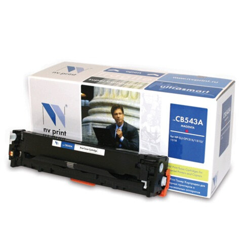 Картридж лазерный HP (CB543A) LaserJet CP1215/<wbr/>1515/<wbr/>CM1312, пурпурный, ресурс 1400 страниц, NV PRINT, СОВМЕСТИМЫЙ