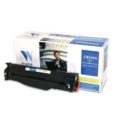 Картридж лазерный HP (CB542A) LaserJet CP1215/1515/CM1312, желтый, ресурс 1400 страниц, NV PRINT, СОВМЕСТИМЫЙ