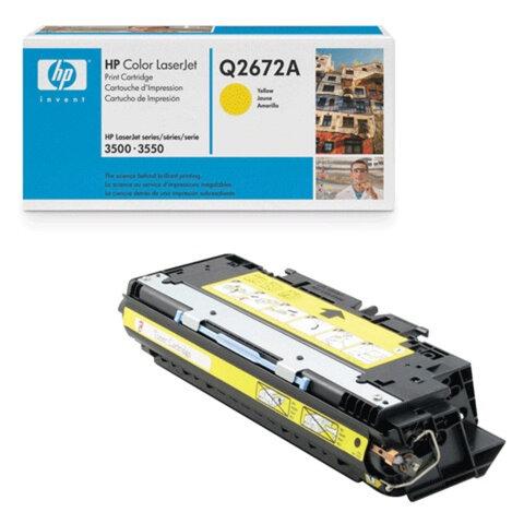 Картридж лазерный HP (Q2672A) ColorLaserJet 3500/<wbr/>3550/<wbr/>3700, желтый, оригинальный, ресурс 4000 стр.