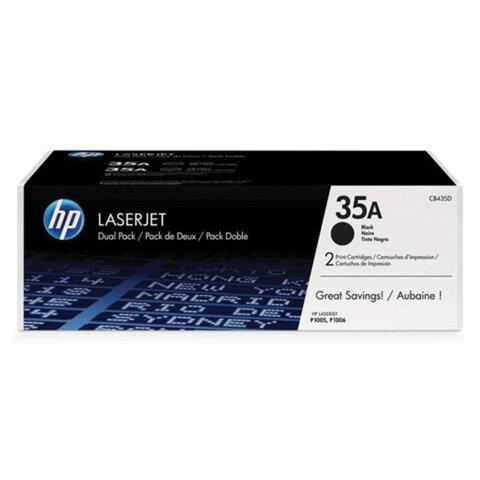 Картридж лазерный HP (CB435AF) LaserJet P1005/P1006 и другие, №35А, оригинальный, комплект 2 шт., ресурс 2х1500 стр.