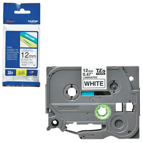 Картридж для принтеров этикеток BROTHER TZE231, 12 мм х 8 м, чёрный шрифт, белый фон, ламинированная
