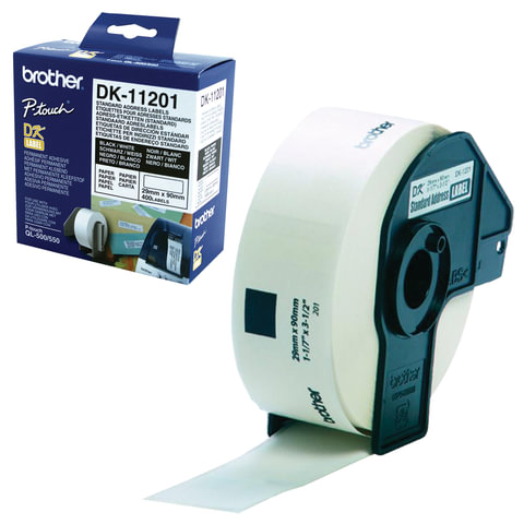 Картридж для принтеров этикеток BROTHER DK11201, 90 мм х 29 м, черный шрифт, белый фон, 400 наклеек в рулоне