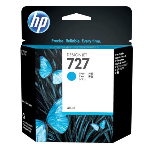 Картридж струйный для плоттера HP (B3P13A) Designjet T920/<wbr/>1500, №727, голубой, 40 мл, оригинальный