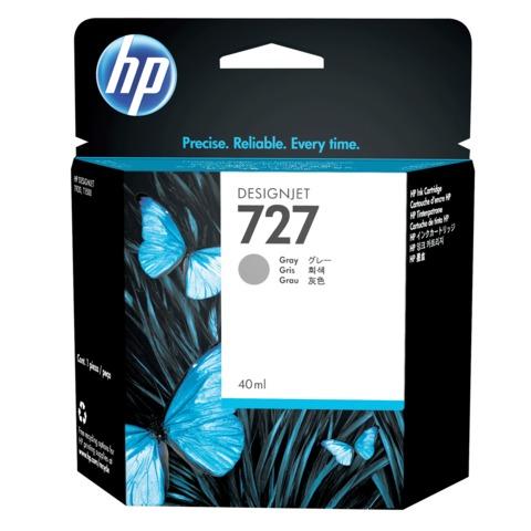 Картридж струйный для плоттера HP (B3P18A) Designjet T920/<wbr/>1500, №727, серый, 40 мл, оригинальный