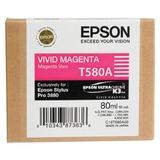 Картридж струйный для плоттера EPSON (C13T580A00) Epson StylusPro 3880 и др., пурпурный, 80 мл, оригинальный