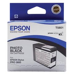 Картридж струйный для плоттера EPSON (C13T580100) Epson StylusPro 3880 и др., черный, для глянцевой бумаги, 80 мл, оригинальный