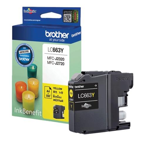 Картридж струйный BROTHER (LC663Y) MFC-J2320/2720, желтый, оригинальный, ресурс 550 стр.
