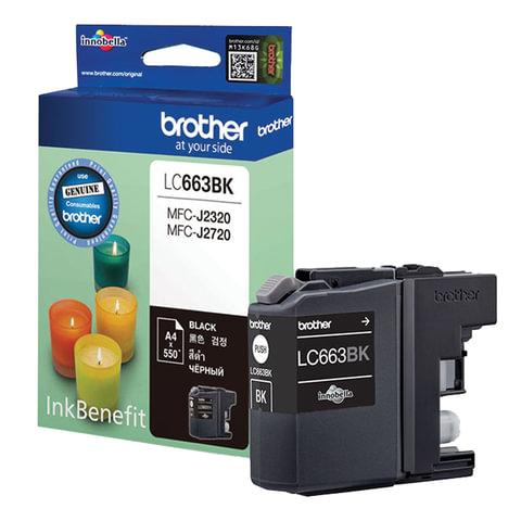 Картридж струйный BROTHER (LC663BK) MFC-J2320/J2720, черный, оригинальный, ресурс 550 стр.