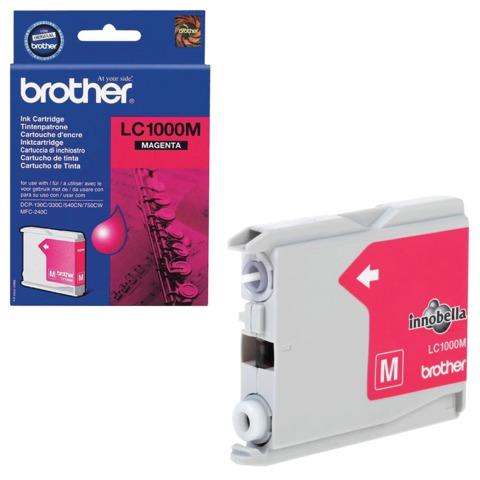 Картридж струйный BROTHER (LC1000M) DCP-130C/<wbr/>770CW/<wbr/>MFC-240C/<wbr/>680CN и др, пурпурный, оригинальный, ресурс 400 стр.