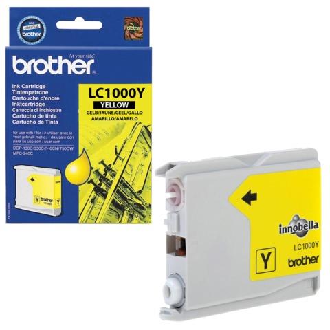 Картридж струйный BROTHER (LC1000Y) DCP-130C/770CW/MFC-240C/680CN и др, желтый, оригинальный, ресурс 400 стр.