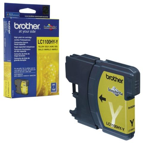 Картридж струйный BROTHER (LC1100HYY) DCP-6690CW/<wbr/>MFC-5890CN/<wbr/>5895CW и др., желтый, оригинальный, ресурс 750 стр.