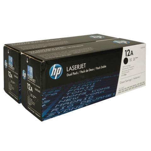 Картридж лазерный HP (Q2612AF) LaserJet 1018/<wbr/>1020/<wbr/>3052/<wbr/>М1005, черный, комплект 2 шт., оригинальный, ресурс 2*2000 стр.