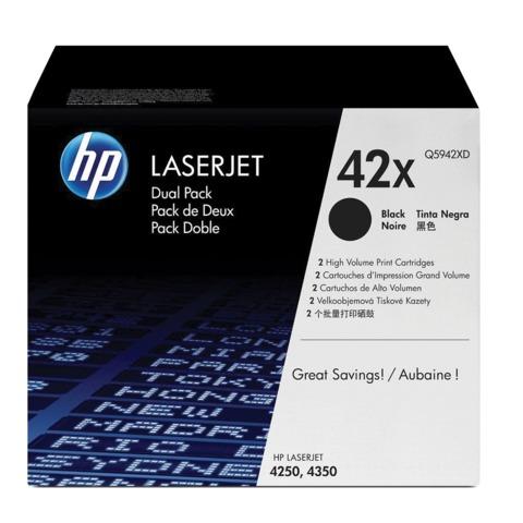 Картридж лазерный HP (Q5942XD) LaserJet 4250/<wbr/>4350 и другие, №42X, комплект 2 шт., оригинальный, ресурс 2*20000 стр.