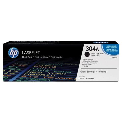 Картридж лазерный HP (CC530AD) ColorLaserJet CP2025/<wbr/>CM2320, черный, комплект 2 шт., оригинальный, ресурс 2×3500 стр.