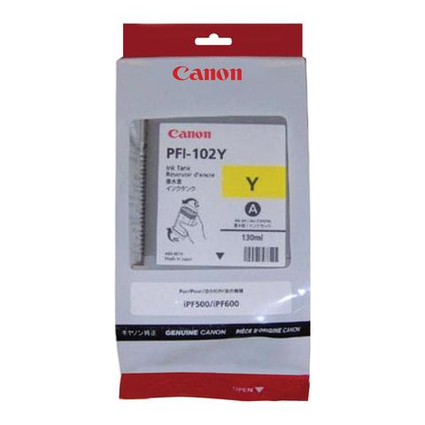 Картридж струйный CANON (PFI-102Y) iPF500/510/F600/605/610/650/655/700/710/720, желтый, оригинальный, 130 мл