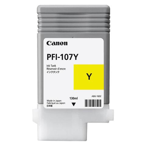 Картридж струйный CANON (PFI-107Y) iPF680/685/780/785, желтый, оригинальный, 130 мл