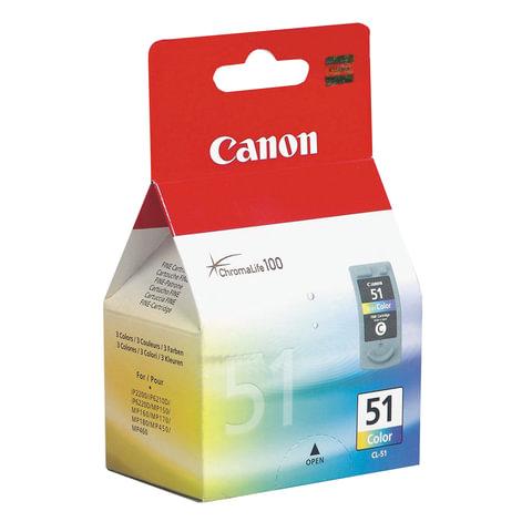 Картридж струйный CANON (CL-51) PIXMA MP450/<wbr/>150/<wbr/>170/<wbr/>iP2200/<wbr/>6210D/<wbr/>6220, цветной, оригинальный, ресурс 275 стр.