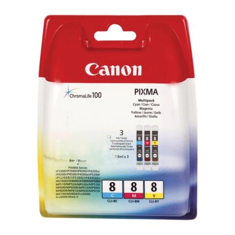 Картридж струйный CANON (CLI-8) iP4200/<wbr/>MP500/<wbr/>iP4300/<wbr/>MX850/<wbr/>iX5000/<wbr/>9000, комплект, оригинальный, 3 цвета CMY, 39 мл