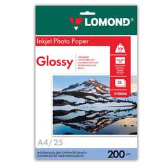 Фотобумага LOMOND для струйной печати, А4, 200 г/<wbr/>м<sup>2</sup>, 25 л., односторонняя, глянцевая, 0102046