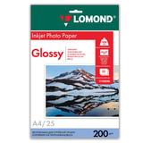 Фотобумага LOMOND для струйной печати, А4, 200 г/<wbr/>м<sup>2</sup>, 25 л., односторонняя, глянцевая