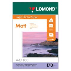 Фотобумага LOMOND для струйной печати, A4, 170 г/<wbr/>м<sup>2</sup>, 100 л., двухсторонняя, матовая, 0102006