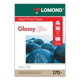 Фотобумага LOMOND для струйной печати, A4, 170 г/<wbr/>м<sup>2</sup>, 50 л., односторонняя, глянцевая