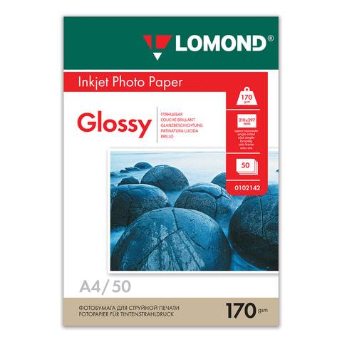 Фотобумага LOMOND для струйной печати, A4, 170 г/<wbr/>м<sup>2</sup>, 50 л., односторонняя, глянцевая, 0102142