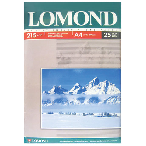 Фотобумага LOMOND для струйной печати, А4, 215 г/<wbr/>м<sup>2</sup>, 25 л., односторонняя, глянцевая, 0102080
