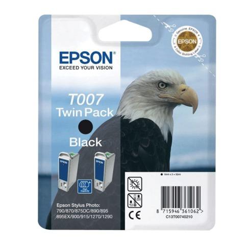 Картридж струйный EPSON (C13T00740210) Stylus Photo 790/<wbr/>870/<wbr/>915/<wbr/>1270 и другие, черный, комплект 2 шт., оригинальный
