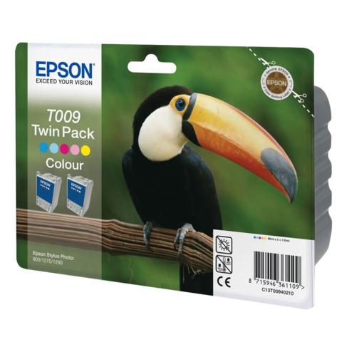 Картридж струйный EPSON (C13T00940210) Stylus Photo 900/<wbr/>1270/<wbr/>1290, цветной, оригинальный, комплект 2 шт.