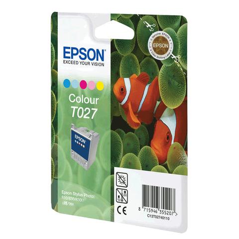 Картридж струйный EPSON (C13T02740110) Stylus Photo 810/<wbr/>830/<wbr/>925/<wbr/>935 и другие, цветной, оригинальный