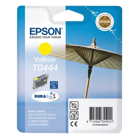 Картридж струйный EPSON (C13T04444010) Stylus C64/C66/C84/C86/CX3600/CX3650/CX6400/CX6600, желтый, оригинальный