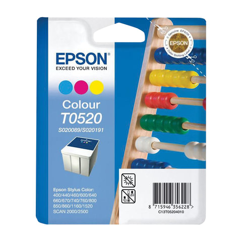 Картридж струйный EPSON (C13T05204010) Stylus Color 400/<wbr/>600/<wbr/>740/<wbr/>1520/<wbr/>Scan2000/<wbr/>2500 и другие, цветной, оригинальный