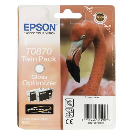 Картридж струйный EPSON (C13T08704010) Stylus Photo R1900, оптимизатор глянца, комплект 2 шт., оригинальный