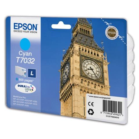 Картридж струйный EPSON (C13T70324010) WP-4015/4025/4095/4515/4525/4535/4545/4595, голубой, оригинальный