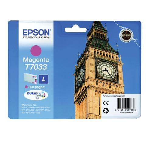 Картридж струйный EPSON (C13T70334010) WP-4015/4025/4095/4515/4525/4535/4545/4595, пурпурный, оригинальный