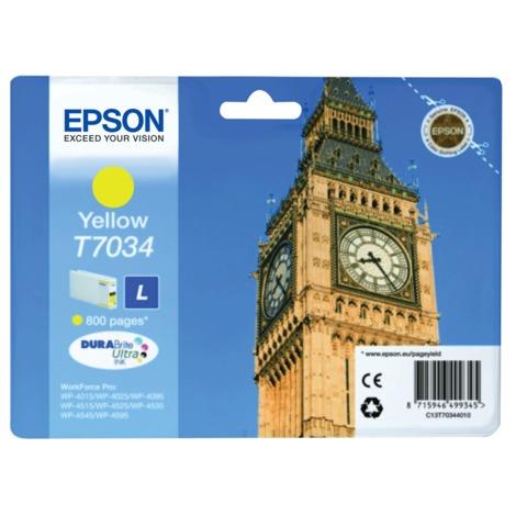 Картридж струйный EPSON (C13T70344010) WP-4015/4025/4095/4515/4525/4535/4545/4595, желтый, оригинальный