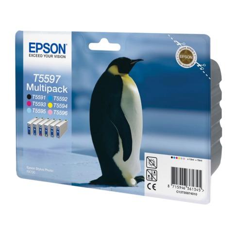 Картридж струйный EPSON (C13T55974010) Stylus Photo RX700, комплект 6 цв., CMYKLcLm, оригинальный