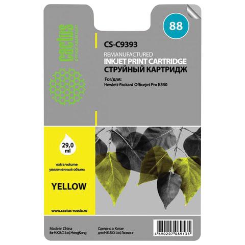 Картридж струйный HP (C9393AE) Officejet Pro K550 и другие, №88XL, желтый, 29 мл, CACTUS совместимый