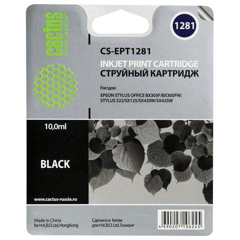 Картридж струйный EPSON (C13T12814011) Stylus S22/SX125/SX420W/BX305F и другие, черный, CACTUS совместимый