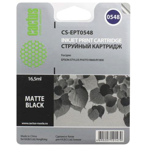 Картридж струйный EPSON (C13T05484010) Stylus Photo R800/<wbr/>R1800, черный матовый, CACTUS совместимый