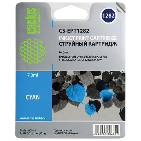 Картридж струйный EPSON (C13T12824011) Stylus S22/SX125/SX420W/BX305F и другие, голубой, CACTUS совместимый
