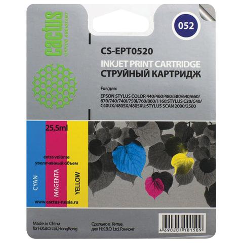 Картридж струйный EPSON (C13T05204010) StylusColor 400/600/C20/Scan2000 и другие, цветной, CACTUS совместимый