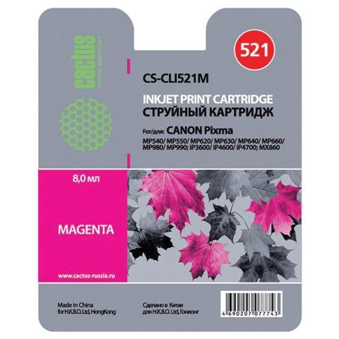 Картридж струйный CANON (CLI-521M) Pixma MP540/<wbr/>630/<wbr/>980, пурпурный, CACTUS совместимый