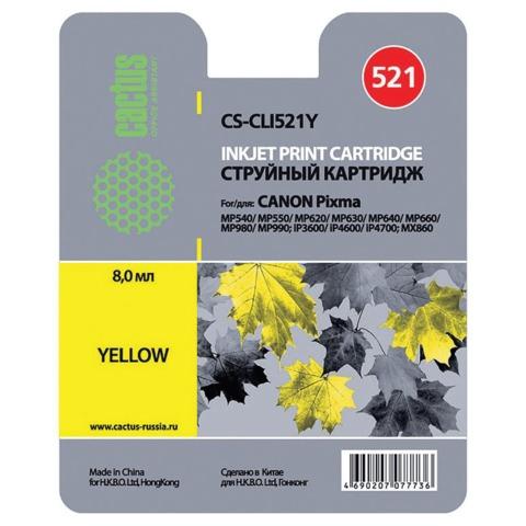 Картридж струйный CANON (CLI-521Y) Pixma MP540/630/980, желтый, CACTUS совместимый
