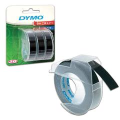 Картридж для принтеров этикеток DYMO Omega, 9 мм х 3 м, белый шрифт, черный фон, комплект 3 шт.