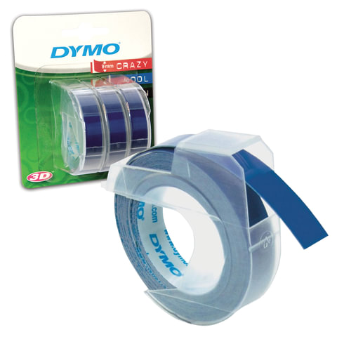 Картридж для принтеров этикеток DYMO Omega, 9 мм х 3 м, белый шрифт, синий фон, комплект 3 шт.