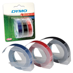 Картридж для принтеров этикеток DYMO Omega, 9 мм х 3 м, белый шрифт, черный, синий, красный фон, комплект 3 шт.