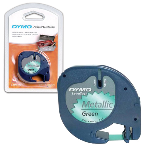 Картридж для принтеров этикеток DYMO LetraTag, 12 мм х 4 м, лента пластиковая, зеленый металлик